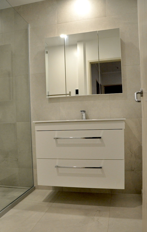 Wall hun vanity, in-set mirror cabinet with de-mister