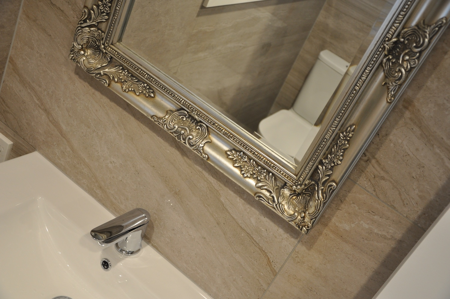 Ensuite basin mixer and mirror